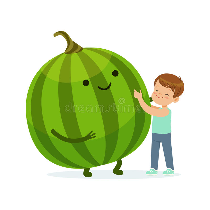 Szczęśliwa chłopiec ma zabawę z świeżym uśmiechniętym arbuzem, zdrowy jedzenie dla dzieciaków charakterów wektoru kolorowej ilust ilustracji