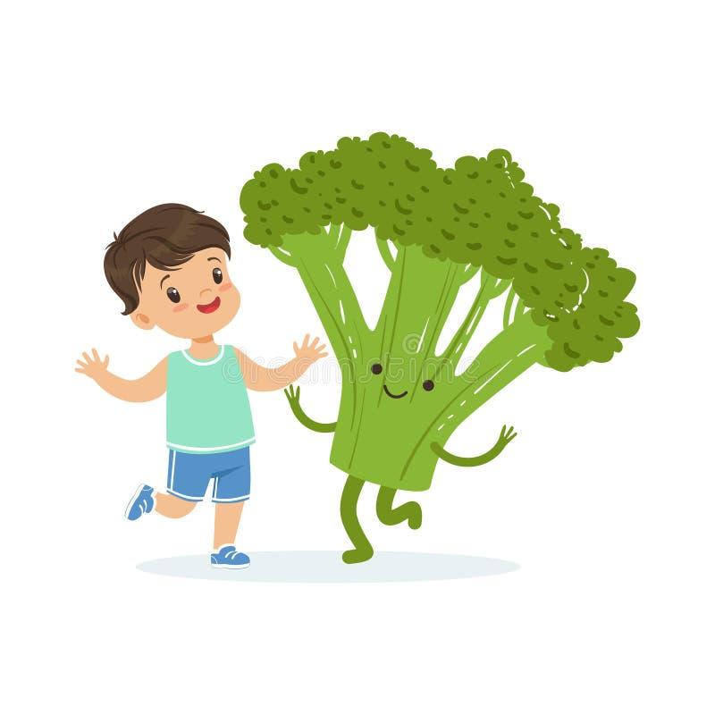 Szczęśliwa chłopiec ma zabawę z świeżym uśmiechniętym brokułu warzywem, zdrowy jedzenie dla dzieciaków kolorowych charakterów wek ilustracja wektor