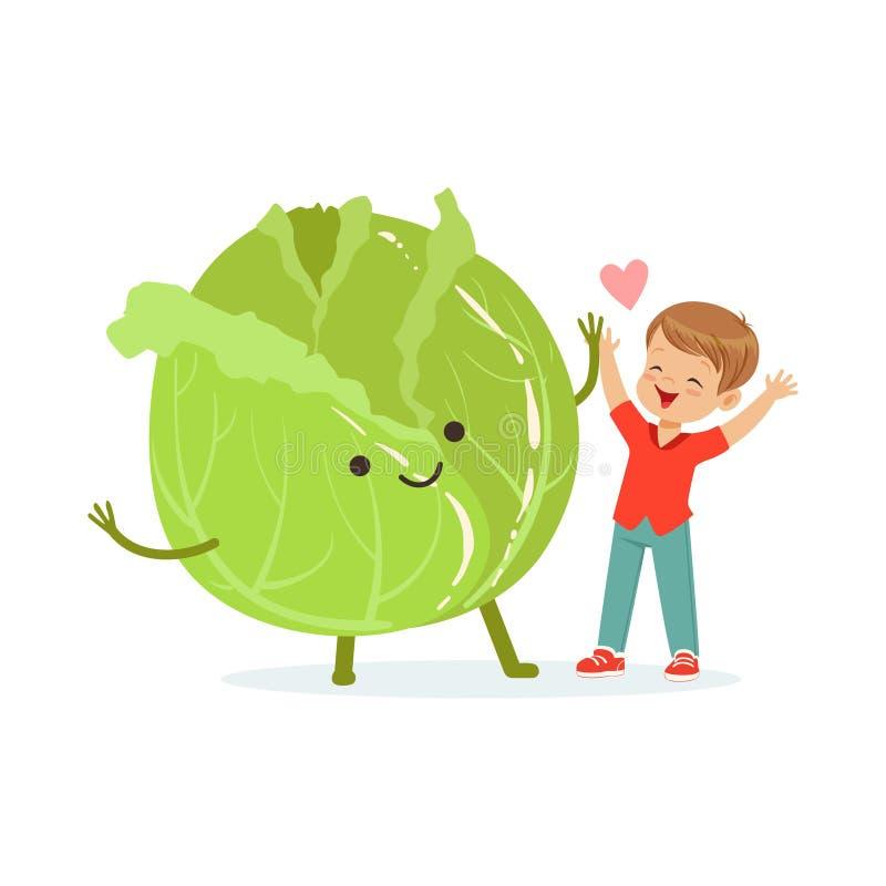 Szczęśliwa chłopiec ma zabawę z świeżym uśmiechniętym kapuścianym warzywem, zdrowy jedzenie dla dzieciaków charakterów wektoru ko ilustracji
