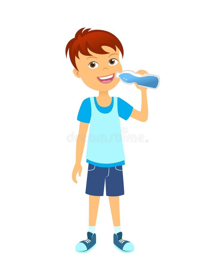 Szczęśliwa chłopiec z butelką woda ilustracji