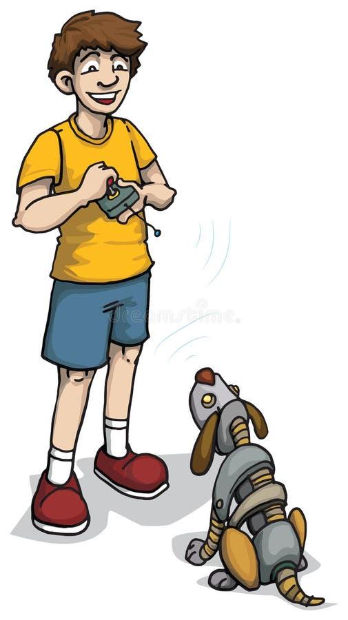 Szczęśliwa chłopiec z robota psem ilustracji