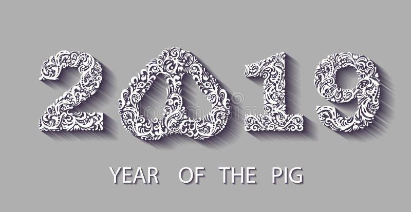 Szczęśliwa chińska nowego roku 2019 karta z srebro wzoru świni zodiakiem srebnego papieru rżnięta sztuka i rzemiosło styl składać ilustracja wektor