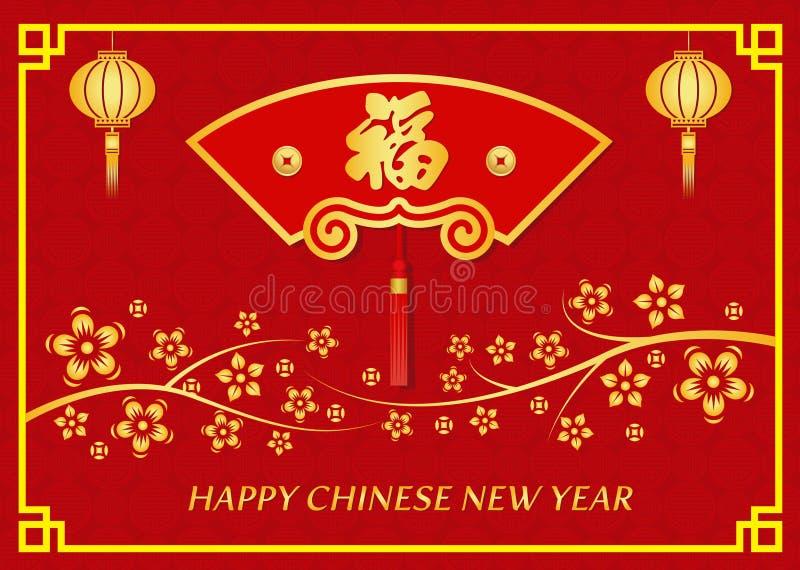 Szczęśliwa Chińska nowy rok karta składa fan, kwiat i Chiński słowo sposobu szczęście ilustracja wektor