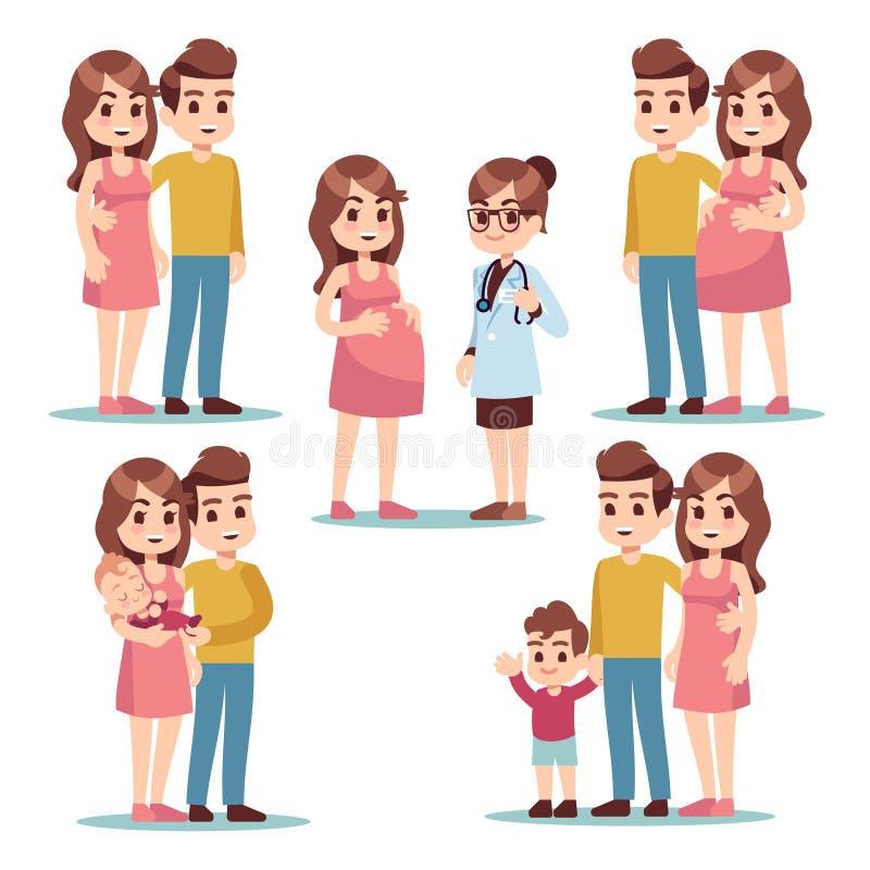 szczęśliwa ciąży Kobieta w ciąży mama, mężczyzna ojciec i zdrowy uroczy nowonarodzony dziecko, Młodzi rodzinni kreskówka wektoru  ilustracja wektor