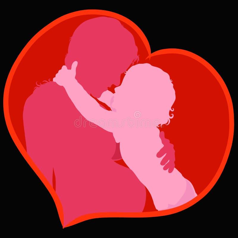 Szczęśliwa ciężarna mama i dziecko ściska ona, serce ilustracja wektor
