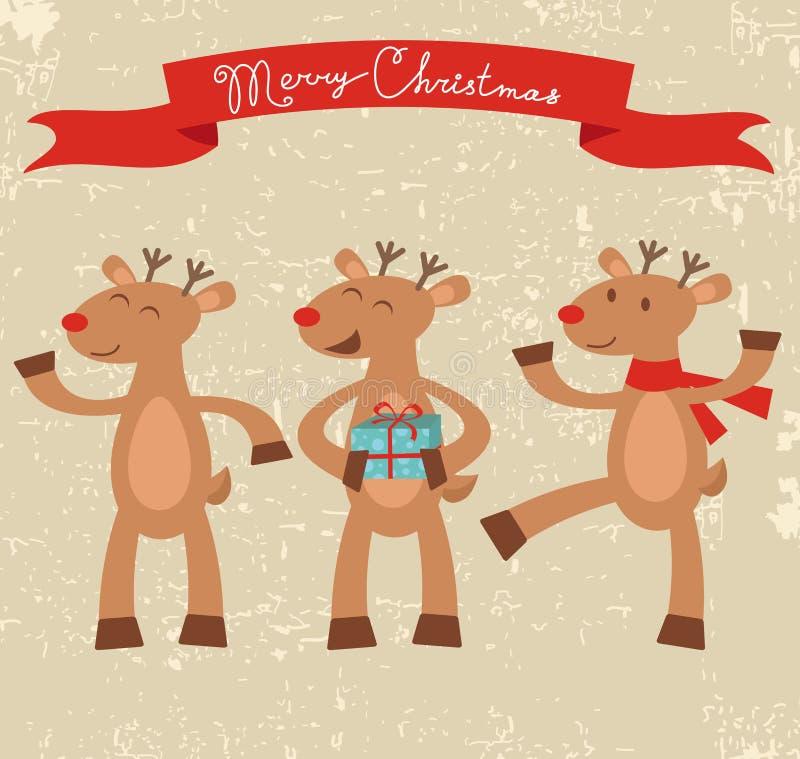 Szczęśliwa deers kartka bożonarodzeniowa royalty ilustracja