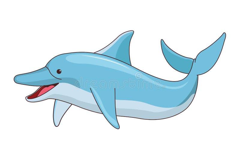 Szcz??liwa delfin ikony kresk?wka odizolowywaj?ca ilustracja wektor