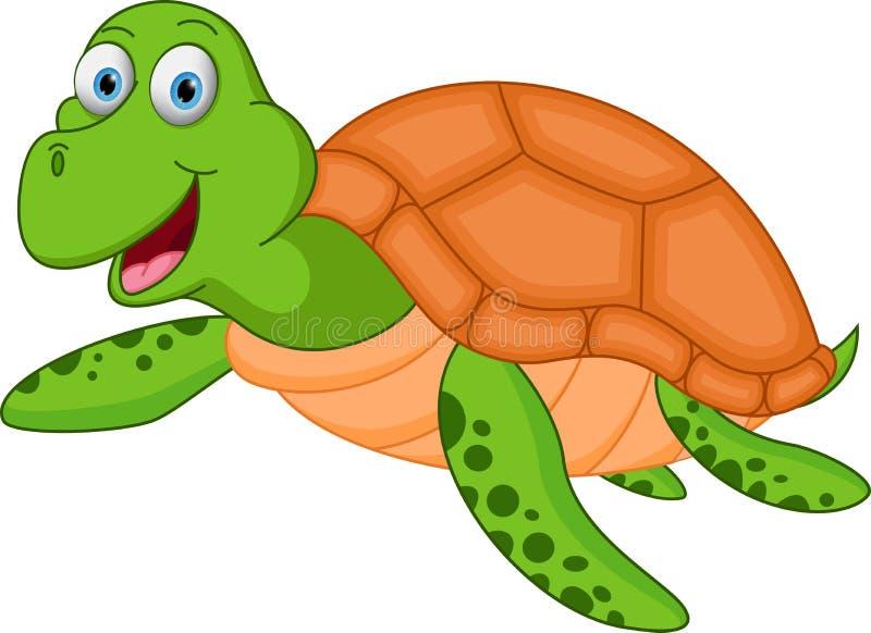 Szczęśliwa dennego żółwia kreskówka royalty ilustracja