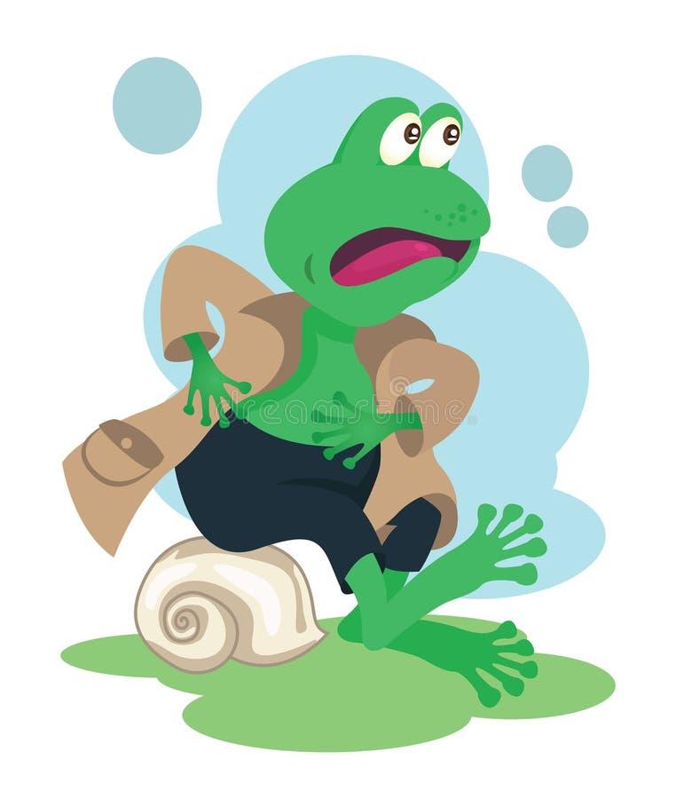 Szczęśliwa detektywistyczna żaby maskotka dla dzieciak książek royalty ilustracja