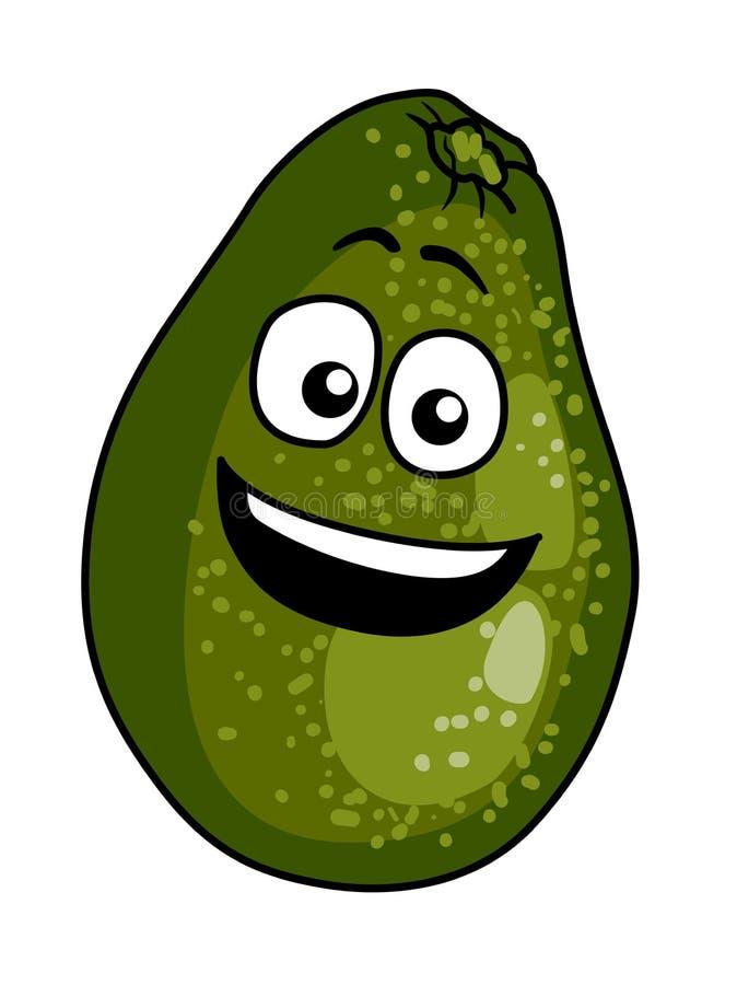 Szczęśliwa dojrzała zielona kreskówki avocado bonkreta royalty ilustracja