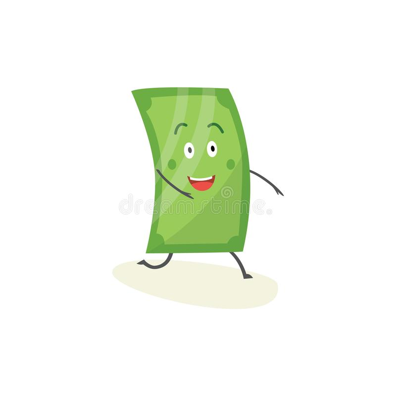 Szczęśliwa dolarowego rachunku postać z kreskówki, śliczna zielonego pieniądze maskotka z uśmiechniętym twarz bieg naprzód ilustracji