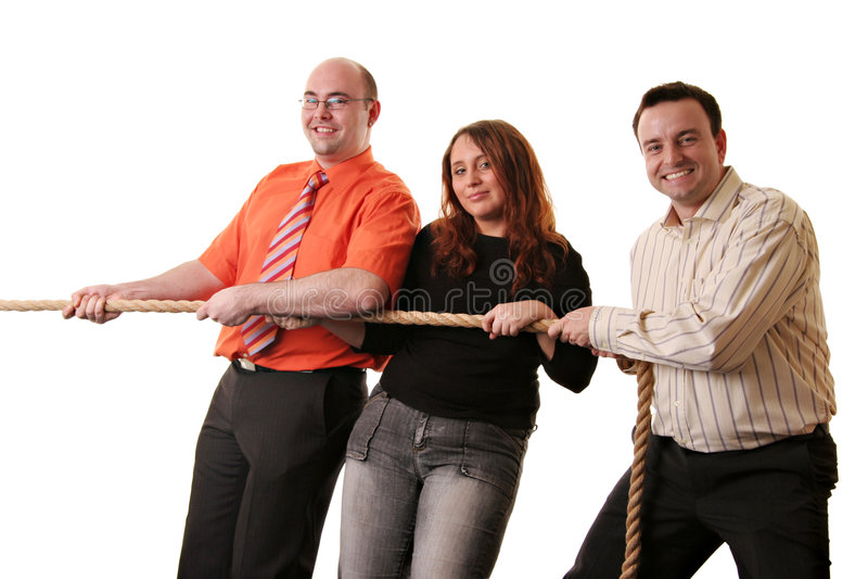 szczęśliwa drużyna tug wojny zdjęcia stock