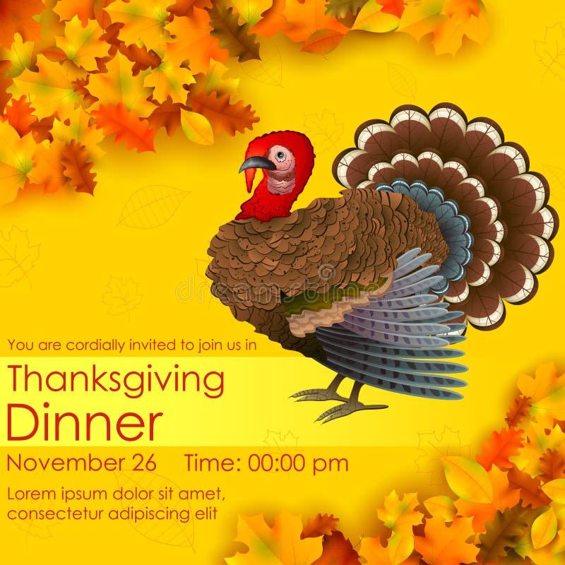 Szczęśliwa dziękczynienia zaproszenia karta ilustracja wektor
