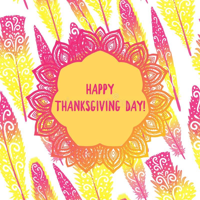 Szczęśliwa dziękczynienie dnia karta Ręki round ornamentu rysunkowa rama Kreskówka jaskrawy kolor żółty z menchiami upierza bezsz ilustracja wektor