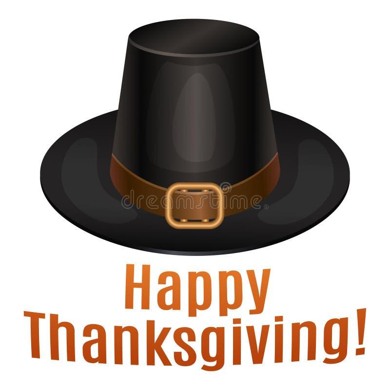 Szczęśliwa dziękczynienie karta, plakat, tło z piligrim kapeluszem ilustracji