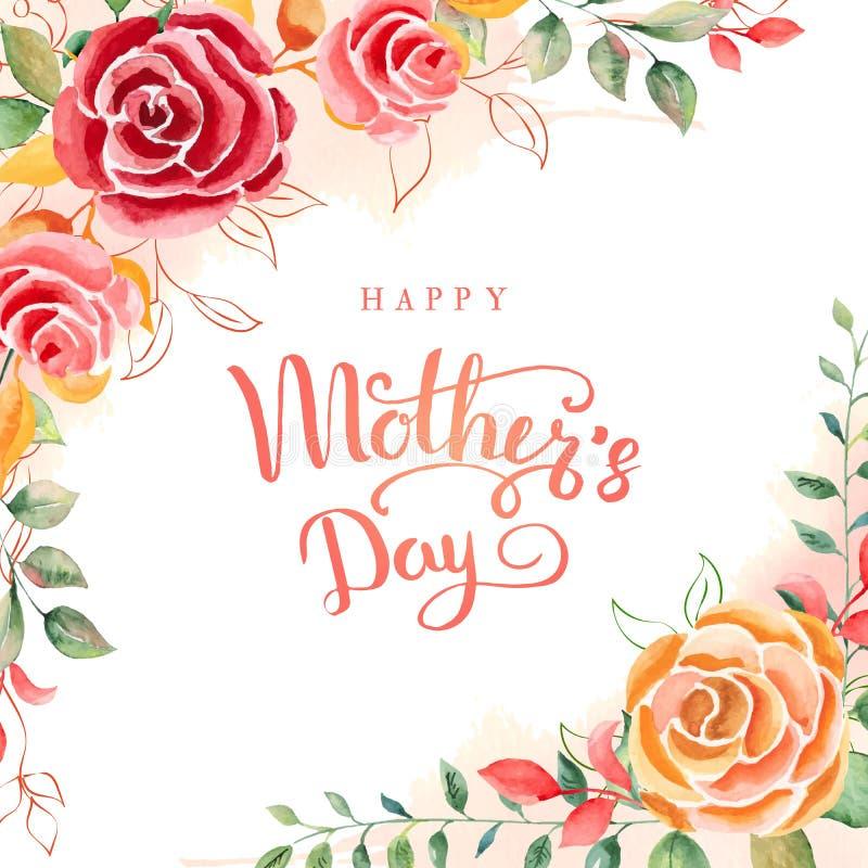 szczęśliwa dzień matka s Kartka z pozdrowieniami z Macierzystym ` s dniem szczegółowy rysunek kwiecisty pochodzenie wektora równi royalty ilustracja