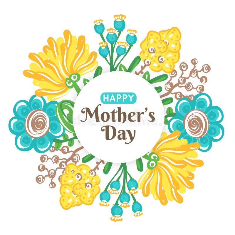 szczęśliwa dzień matka s Wakacje mama Kwiecista dekoracja Round rama kolorowi kwiaty Kobiety ` s świętowanie ilustracja wektor