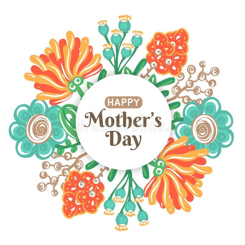 szczęśliwa dzień matka s Wakacje mama Kwiecista dekoracja Round rama kolorowi kwiaty Kobiety ` s świętowanie royalty ilustracja