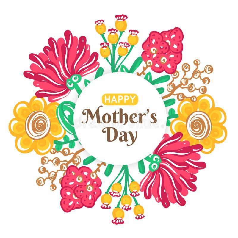 szczęśliwa dzień matka s Wakacje mama Kwiecista dekoracja Round rama kolorowi kwiaty Kobiety ` s świętowanie ilustracji