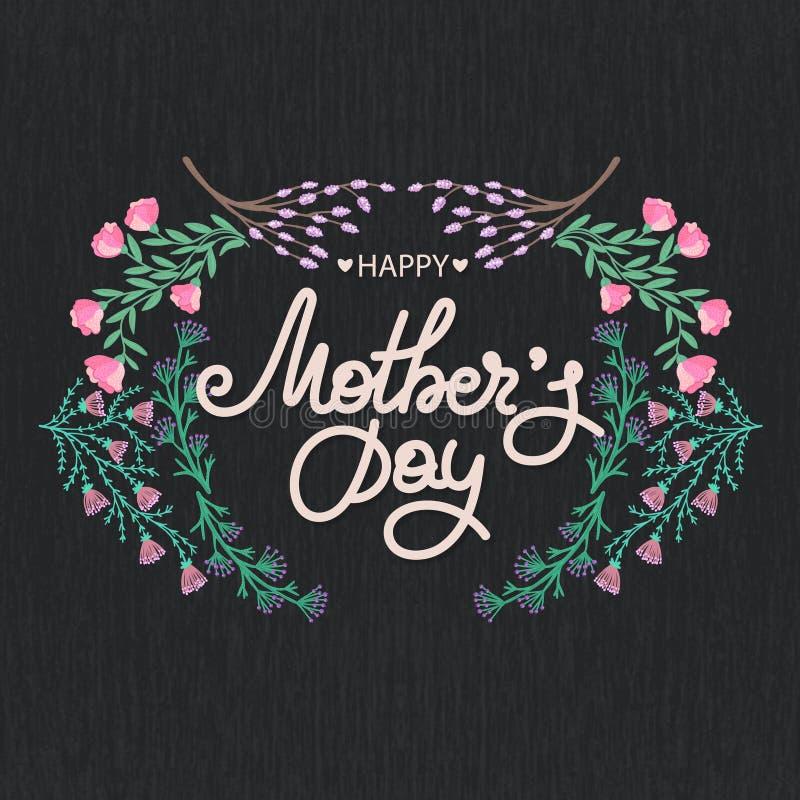 szczęśliwa dzień matka s Wakacje mama Literowanie z kwiecistą dekoracją kwiat fractal ramy ilustracja Kobiety ` s świętowanie ilustracja wektor