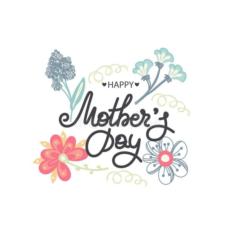 szczęśliwa dzień matka s Wakacje mama Literowanie z kwiecistą dekoracją kwiat fractal ramy ilustracja Kobiety ` s świętowanie Kal ilustracji