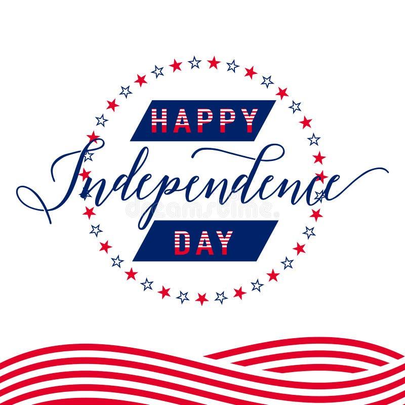 szczęśliwa dzień niezależność Lipiec 4th _ Wektor - pomnik flagi Patriotyczny świętuje ilustracji