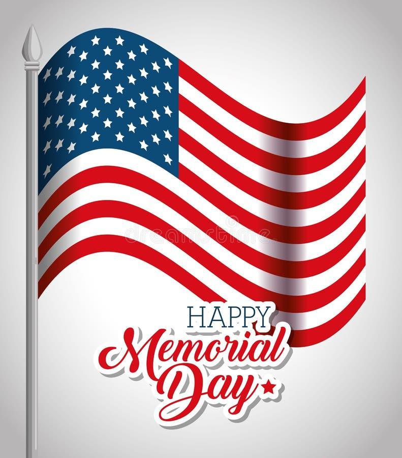 Szczęśliwa dzień pamięci flaga ilustracja wektor