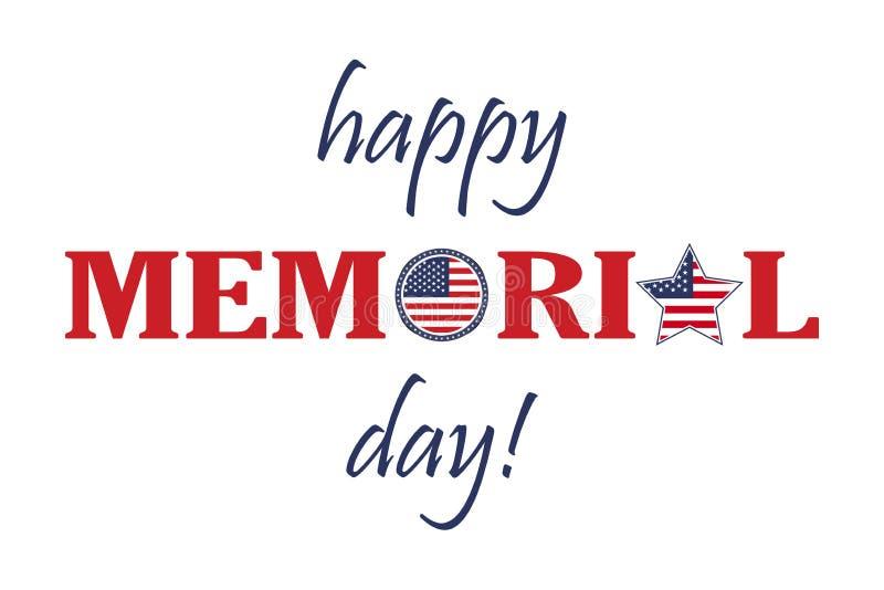 Szczęśliwa dzień pamięci karta Krajowa amerykańska wakacyjna ilustracja z usa flaga Świąteczny plakat lub sztandar z ręki literow royalty ilustracja