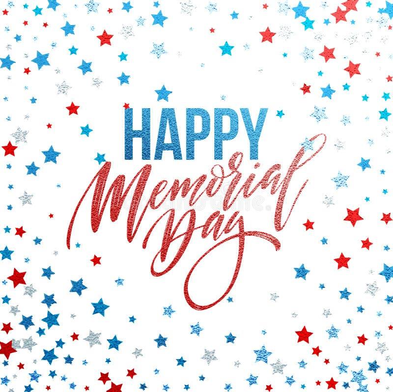 Szczęśliwa dzień pamięci karta Krajowy Amerykański wakacje Świąteczny plakat lub sztandar z ręki literowaniem również zwrócić cor ilustracji