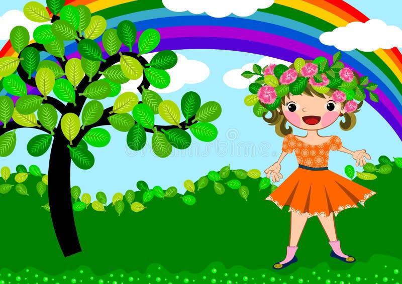 Szczęśliwa dzieciak dziewczyna ilustracja wektor