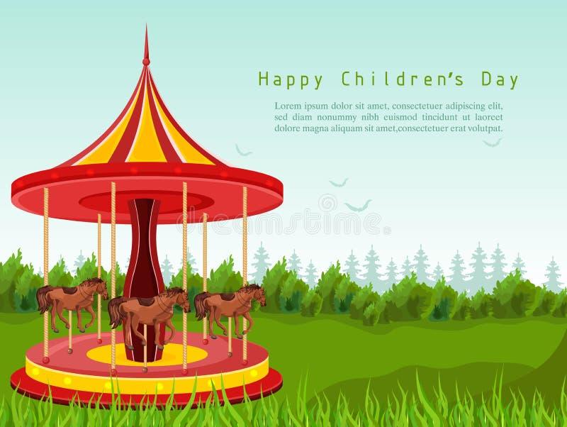 Szczęśliwa dziecko dnia karta z końskim carousel wektorem Szczegółowe ilustracje royalty ilustracja