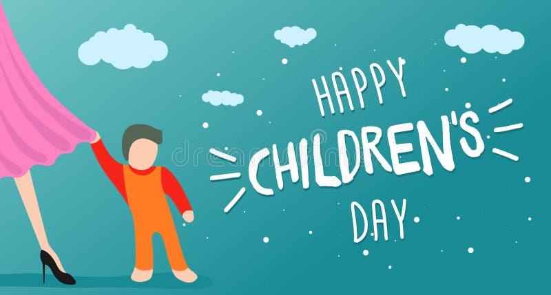 Szczęśliwa dziecko dnia kartka z pozdrowieniami, sztandar lub plakat, Małe dziecko przylega mamy suknia Światowy rodzinny wakacyj ilustracja wektor