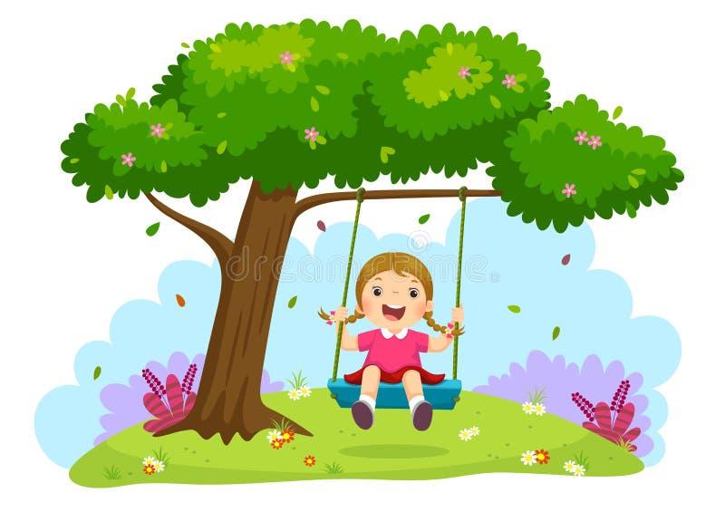 Szczęśliwa dziecko dziewczyna śmia się i huśta się na huśtawce pod drzewem ilustracji