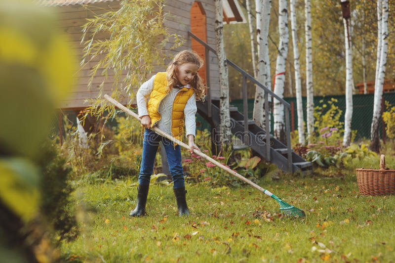 Szczęśliwa dziecko dziewczyna bawić się małej ogrodniczki w jesieni i podnosi opuszcza w kosz Sezonowa ogrodowa praca fotografia stock
