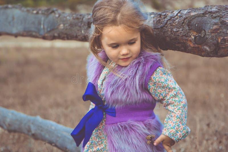 Szczęśliwa dziecko dziewczyna w pobliskim drewnianym ogrodzeniu zdjęcia royalty free
