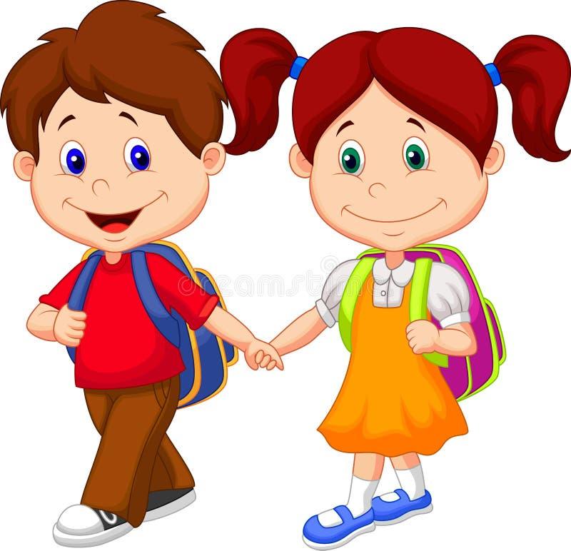 Szczęśliwa dziecko kreskówka przychodząca z plecakami ilustracja wektor