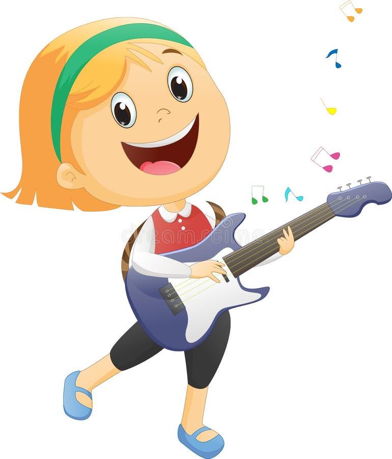 szczęśliwa dziewczyna bawić się gitarę ilustracji