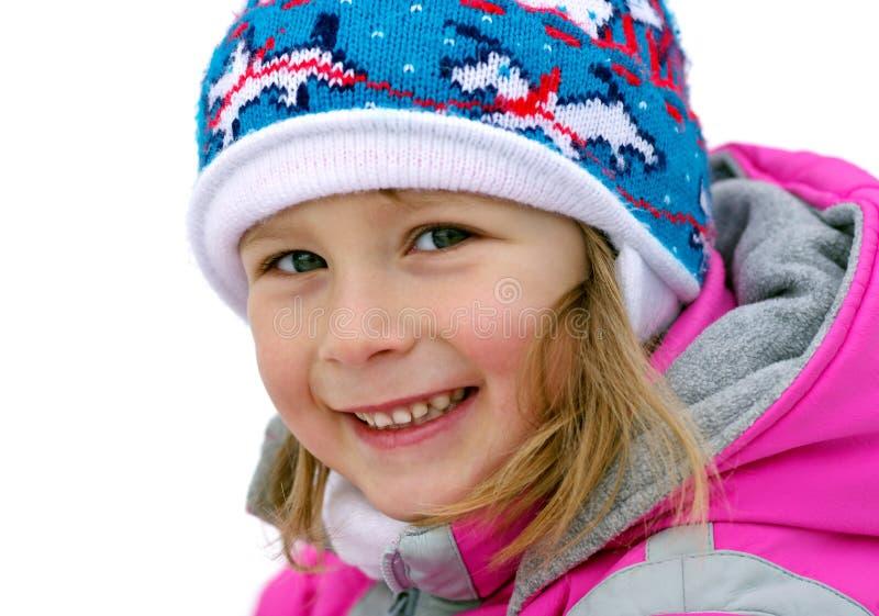 szczęśliwa dziewczyna czasu zimy. zdjęcia stock