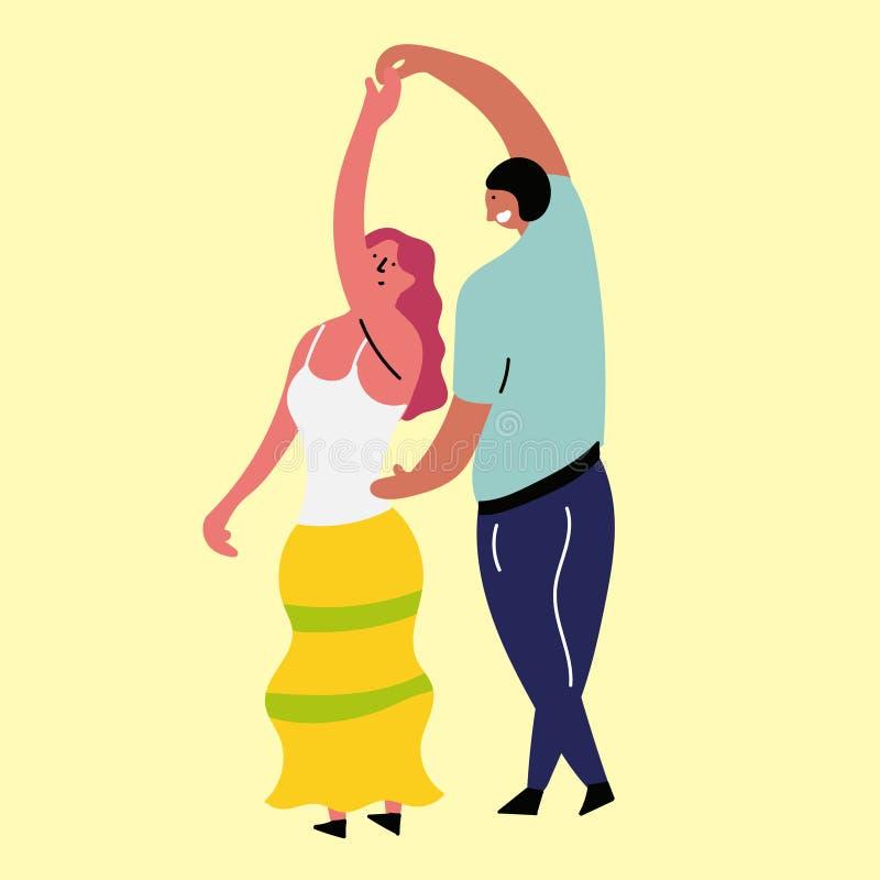 Szczęśliwa dziewczyna i chłopak tanczymy ilustracji