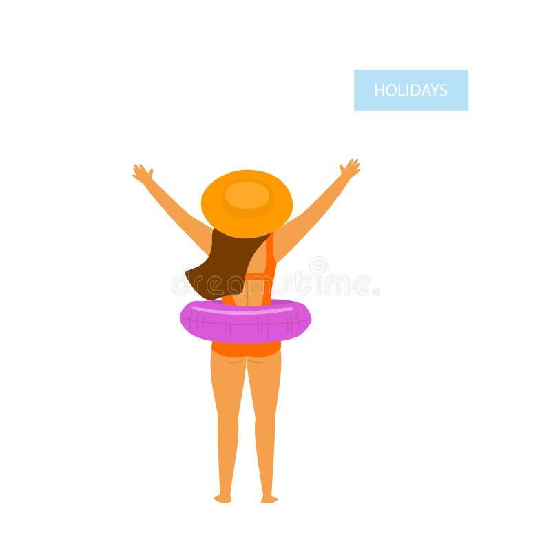 Szczęśliwa dziewczyna, młoda kobieta na plaża wakacje, trwanie zadek z nadmuchiwanym pławikiem royalty ilustracja