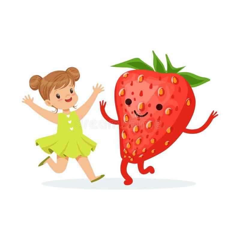 Szczęśliwa dziewczyna ma zabawę z świeżą uśmiechniętą truskawką, zdrowy jedzenie dla dzieciaków charakterów wektoru kolorowej ilu ilustracji