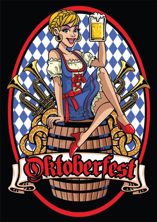 Szczęśliwa dziewczyna oktoberfest obsiadanie na piwnej baryłce ilustracja wektor