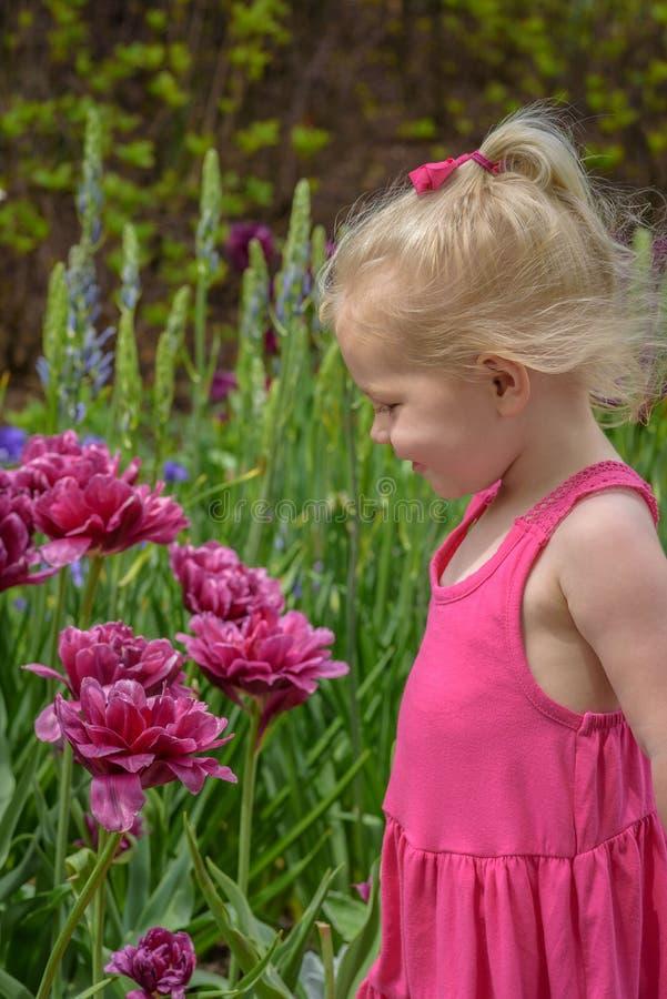 Szczęśliwa dziewczyna patrzeje kwiaty w wiośnie przy ogródem botanicznym fotografia stock