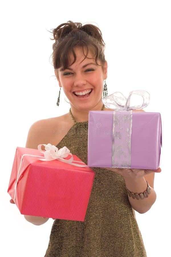 szczęśliwa dziewczyna prezent obrazy stock
