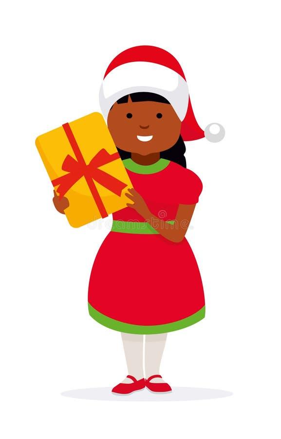 Szczęśliwa dziewczyna w bożych narodzeniach kapeluszowych z prezentem dla wakacje amerykanin afrykańskiego pochodzenia rodzina royalty ilustracja