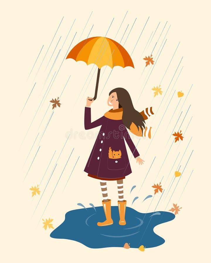 Szczęśliwa dziewczyna z parasolem na dżdżystym tle Podeszczowa i uśmiechnięta dziewczyna z parasolem ilustracja wektor