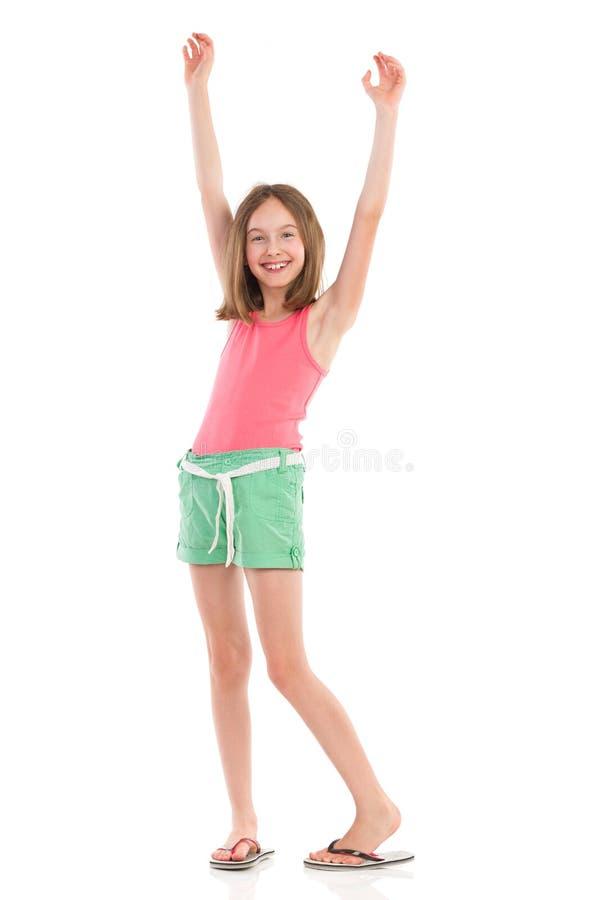 Szczęśliwa dziewczyna z rękami podnosić zdjęcie royalty free