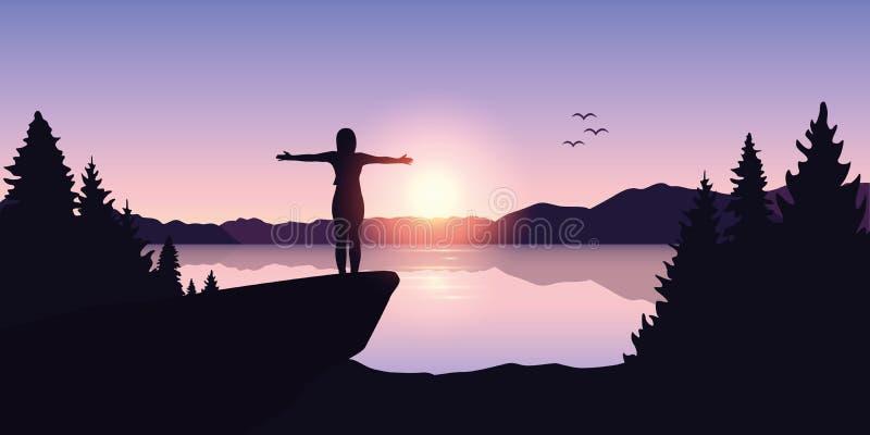 Szczęśliwa dziewczyna z rękami podnosić przy wschód słońca jeziorem ilustracja wektor