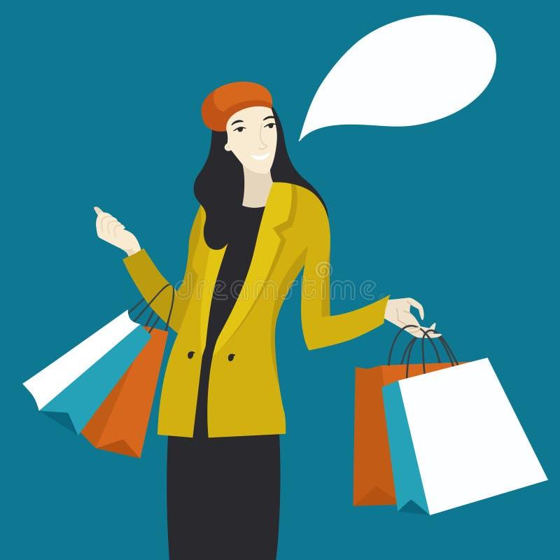 Szczęśliwa dziewczyna z zakupami po robić zakupy - Wektorowa mieszkanie stylu ilustracja ilustracji