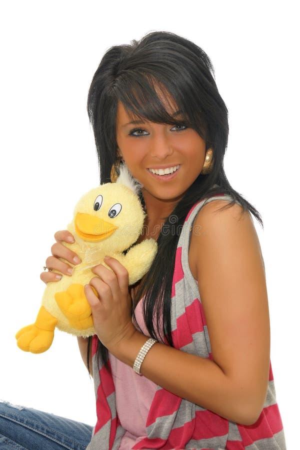 szczęśliwa dziewczyny zabawka obraz stock